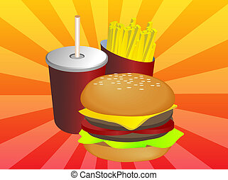 Fastfood combo - Fast food combo illustration, hamburge...