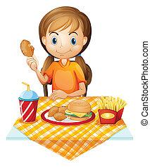fastfood, comer, menina, bonito, restaurante