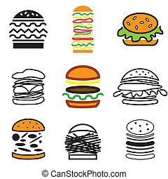 fastfood, conjunto, hamburguesa, iconos