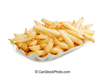 Fastfood - Crunchy French Fries on a paper plate with bright...