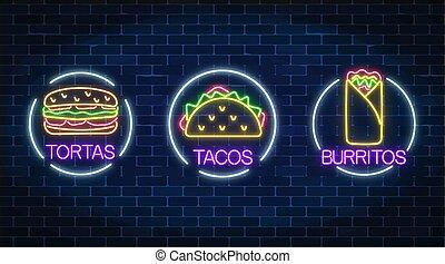 fastfood, ensemble, mexicain, frames., lumière, néon, trois, tacos, tortas, burritos, incandescent, signes, panneau affichage, cercle, symbole.