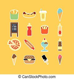 Fastfood flat icon set. Vector Illustration.