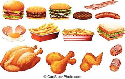 fastfood, gevarieerd, types