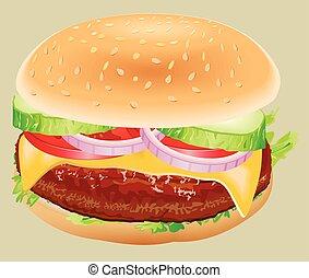 Fastfood. Hamburger ingredients vector illustration.