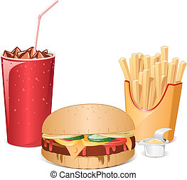 Classic fastfood meal with cheeseburger, glass of ice cola, fries potato and sauce.