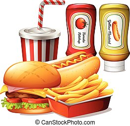 fastfood, pasto, tipo, salse, due