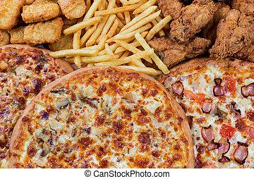 fastfood, pepite, gambe, potatos, pollo, pizze, friggere