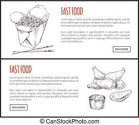 Fastfood Posters Noodles Set Vector Illustration