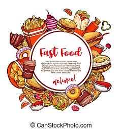 fastfood, restaurant menu, schets, vector, poster