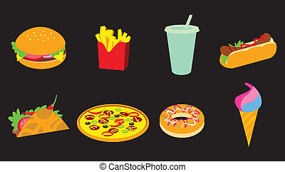 fastfood, set, pictogram