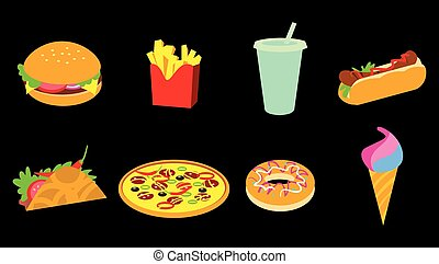 fastfood, set, pictogram