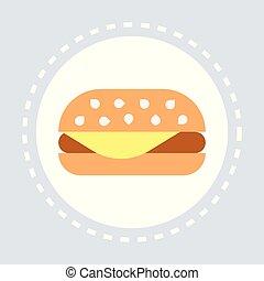 fastfood sign hamburger icon unhealthy food concept flat...