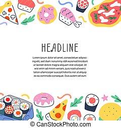 fastfood, smaklig, sushi, täcka, illustrationer, oavgjord, pizza, meny, vektor, gräns, mall, avskrift, restaurang, ram, klotter, utrymme, rulle, leverans, tecknad film, hand, och, bakgrund, peperoni