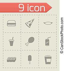 fastfood, vector, black , set, pictogram