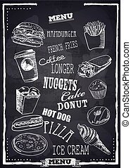 Fast Foods menu on chalkboard vector . Burger, pizza, ice cream and other fastfood product.