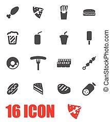 fastfood, vector, set, grijze , pictogram