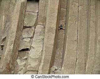 fasthängd, torn, -, klättrande, jäklar
