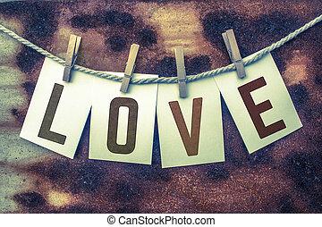 fastklämd, kort, begrepp, kärlek, rosta