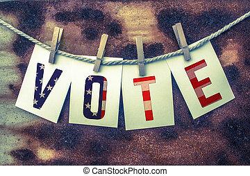 fastklämd, kort, begrepp, rosta, rösta