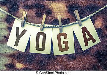 fastklämd, kort, begrepp, yoga, rosta