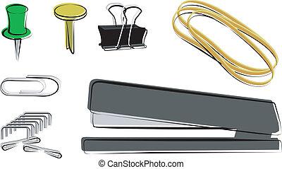 Fastners - Push pin, brad, binder clip, rubber bands,...