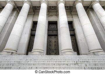 fastslå hovedstad, historisk bygning, indgang