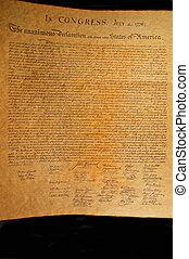fastslår, foren, uafhængighed, erklæring
