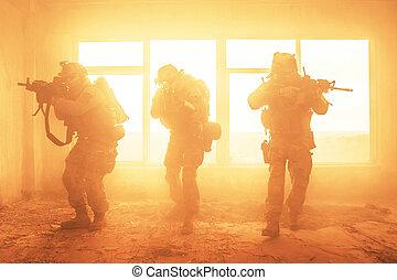 fastslår, rangers, foren, handling, hær