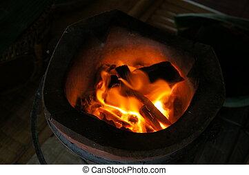 faszén, fogalom, grill, elbocsát, fűt, előkészítés, csípős, kandalló
