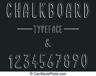 faszén, modern, betűkép, írott, chalkboard, betűtípus, ...