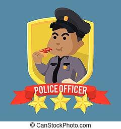 Fat african police officer emblem