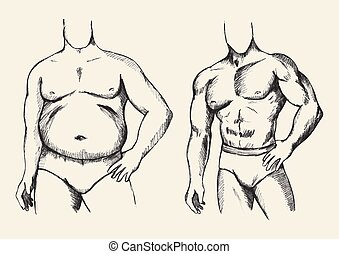 Fat And Fit Man Figure - Sketch illustration of a fat and...