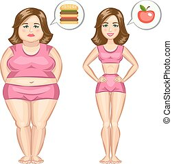 Fat and slim girl. Vector illustration