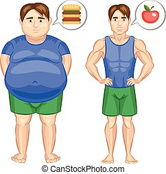 Fat and slim man. Vector illustration.
