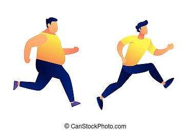 Fat and slim men running vector illustration. Keeping fit...