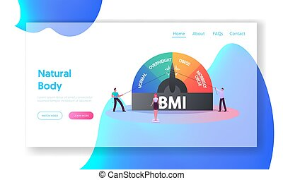 Fat and Slim People Obesity Weight Control, Body Mass Index Landing Page Template. Tiny Characters at Huge Scale with Obesity Degrees Normal, Overweight to Morbidly Obese. Cartoon Vector Illustration
