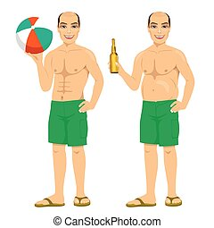 fat and slim version of the same man holding bottle of beer and inflatable striped ball