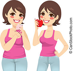 Fat And Slim Woman Diet - Smiling fat woman holding a sweet...