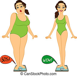 Fat and slim woman on weights scales, diet and exercises progress isolated vector illustration