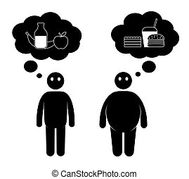 Fat and thin man icons. Normal weight and overweight man....