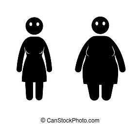 Fat and thin woman. Normal weight and overweight woman. -...