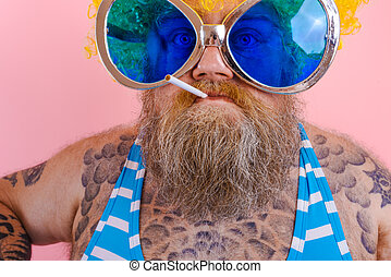 Man with beard and wig smokes cigarettes