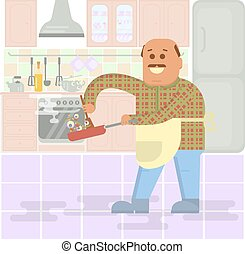 Fat bald man with frying pan