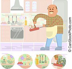 Fat bald man with frying pan in hand cooking . Isolated on...