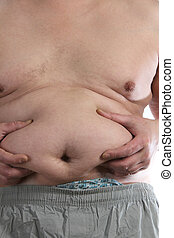 Fat belly of man