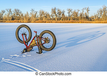 fat bike and shadows on a frozen lake
