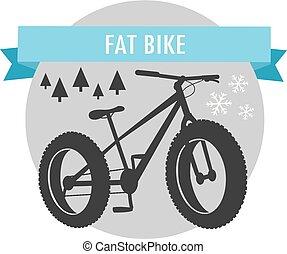 fat bike mountain bicycle sport emblem