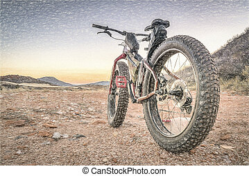fat bike on a desert mountain trail