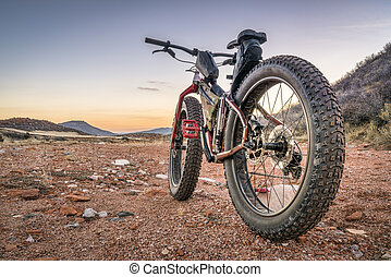 fat bike on a desert trail with deep, loose gravel - fat ...