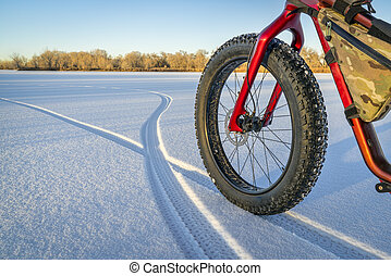 fat bike on a frozen lake